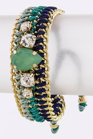 Mint Colored Gem Stone Thread Bracelet