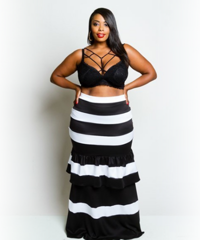 Curvy7 Black/White Striped Skirt