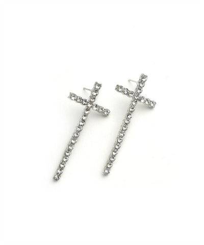 Multi-Stone Cross Earring