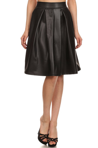 Black Pleated Leatherette Skirt