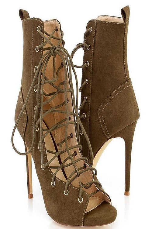 Olive String Theory Booties/Shoes