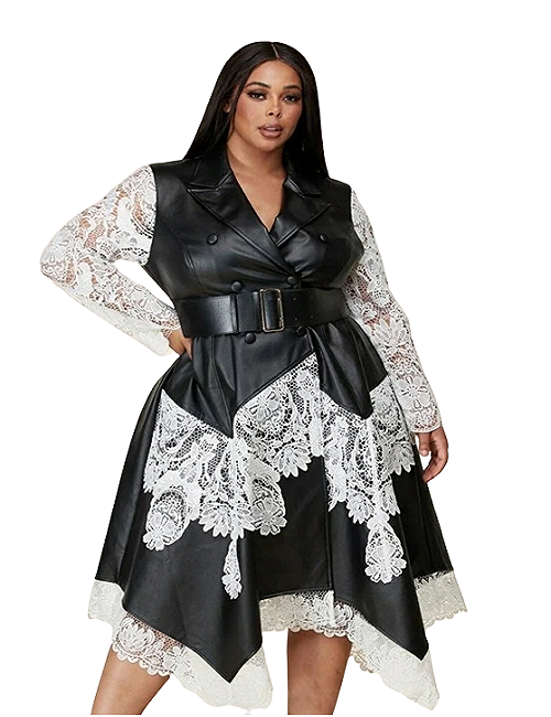 Curvy7 Leatherette and Lace Dress