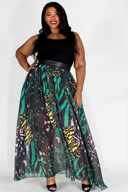 Marie Abstract Skirt Green