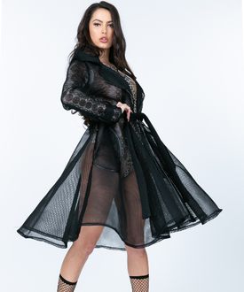 Megan Black Mesh Blazer/Coat