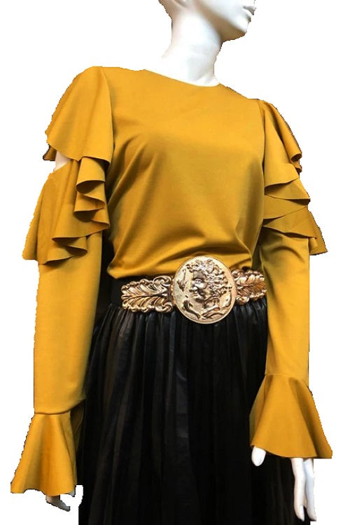 Mustard Yellow Ruffle Hole Top