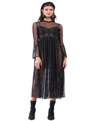 Sheer Embroidered Lace Dress Top
