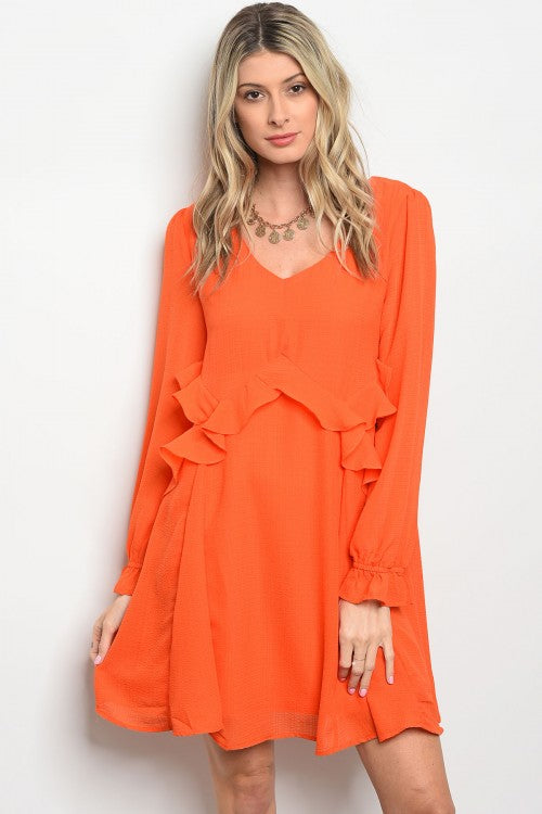 Orange Ruffle Shift Dress