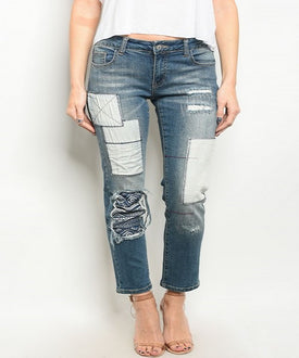 Patchwork Embellished Distress Jeans