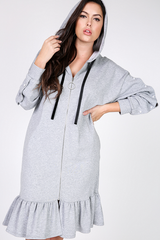 Gray Pearls and Hood Sweatsuit Dress
