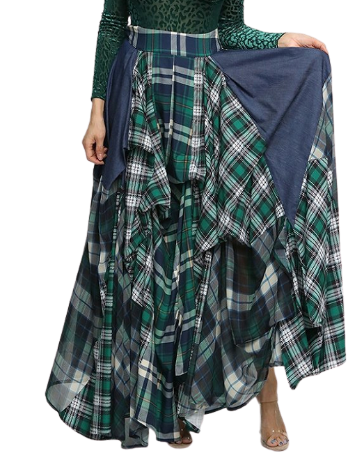 Green Plaid and Denim Draping Skirt