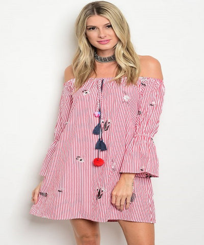 Red and White Pin Stripes Top/Dress