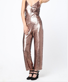 Rose Gold Sequins Jumpsuit