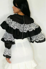 Ruffle and Lace Black White Top