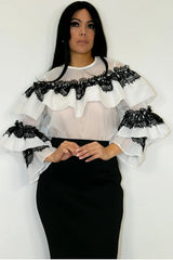 Ruffle and Lace White and Black Top