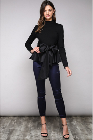 Curvy7 Black Satin Peplum Top