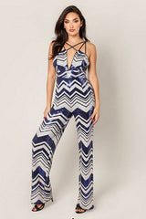 Navy and Ivory Sequins Jumpsuit