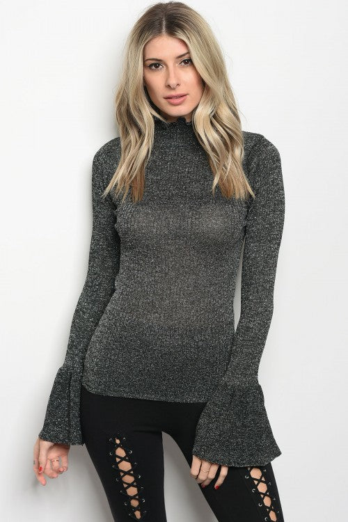 Silver Ruffle Turtleneck