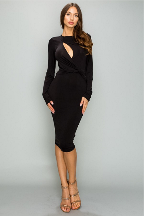 Black Slit Bodycon Dress