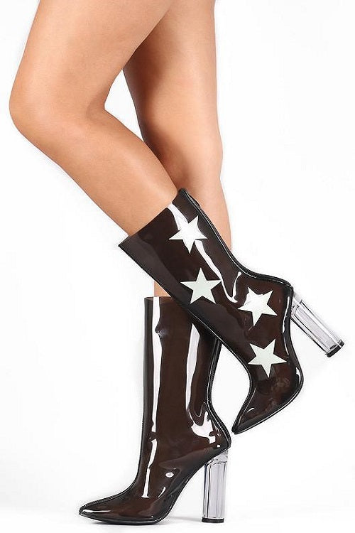 Black Clear Star Booties