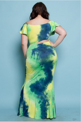 Lime Green Tye-Dye Dress