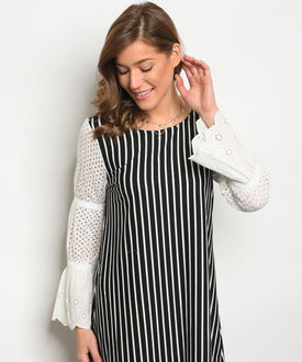 Black and White Vertical Stripes Dress
