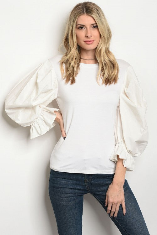 Ivory Bouffant Sleeve Top