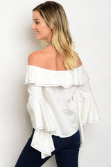 White Ruffle Off-Shoulder Top