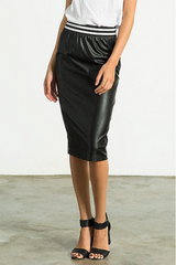 White and Black Ribbed Leatherette Skirt