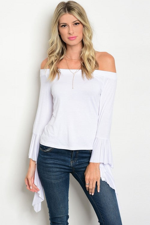 White Off Shoulder Draping Sleeve Top