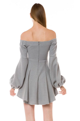 Gray Puff Sleeve Dress/Top