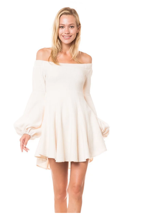 Ivory Puff Sleeve Dress/Top