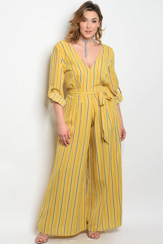 Yellow Black and Red Striped Jumpsuit
