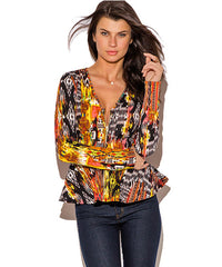 Abstract Print Peplum Blazer