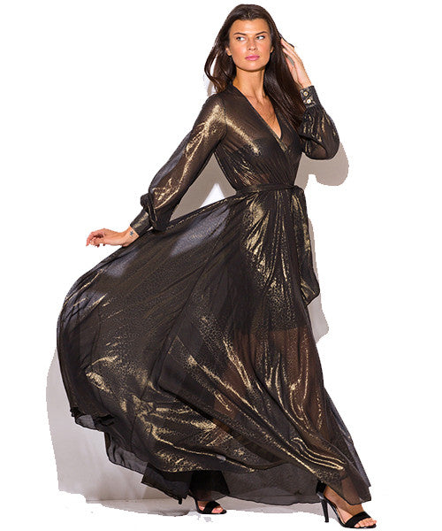 EXCLUSIVE Black & Gold Metallic Chiffon Maxi Dress