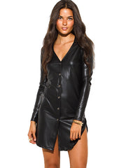 Black Leatherette Shirt Dress