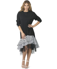 Black Ruffled Tulle Dress