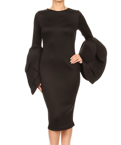 Tulip Sleeve Black Dress