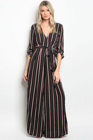 Curvy7 Black Red and Green Striped Jumpsuit