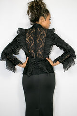 Black Lace Bib Top