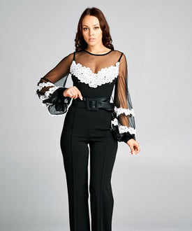 Black Sheer White Adornment Jumpsuit