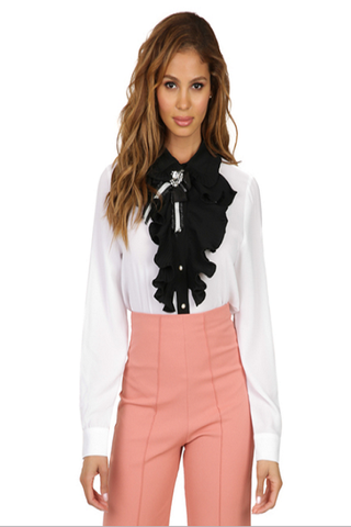 Black/White Ruffle Bow Top
