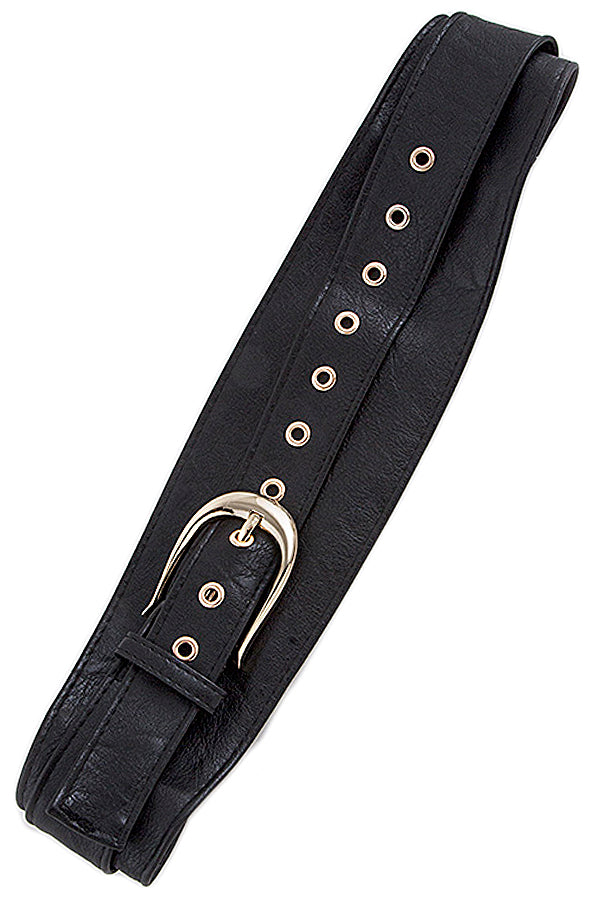 Faux Black Overlapping Belt