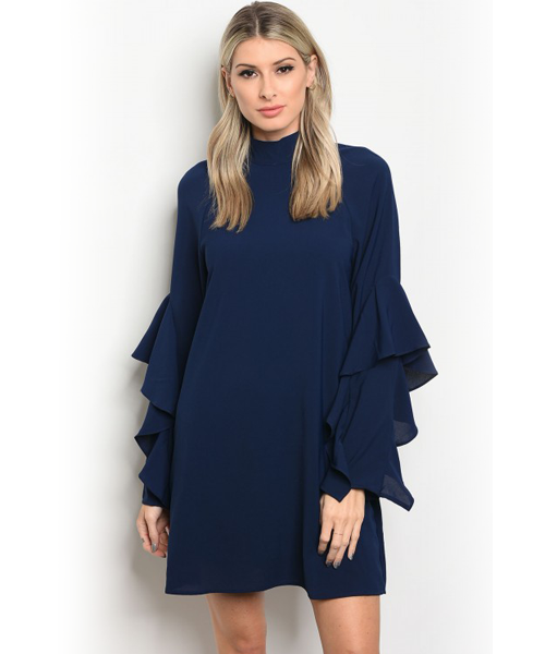 Navy Blue Ruffle Sleeve Dress/Top