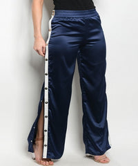 Satin Navy Blue White Stripe Pants