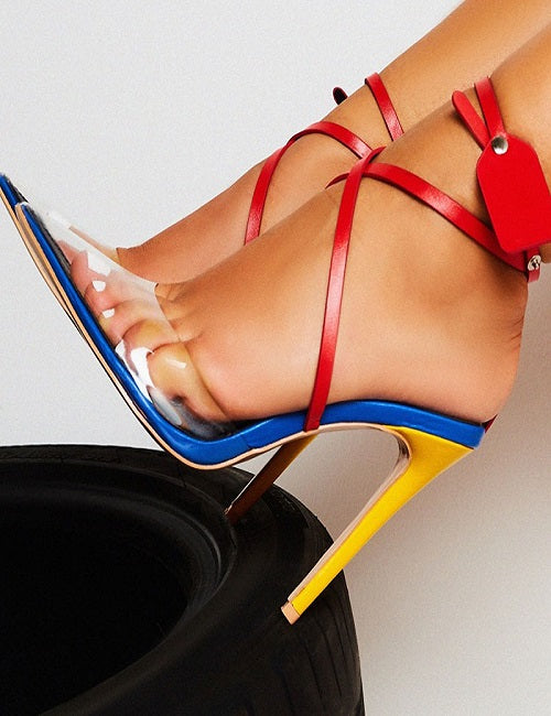 Clear Pointed Blue Red Yellow Heels