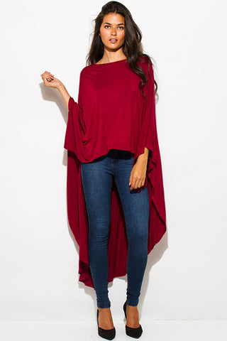 Burgundy Hi-Low Knit Top