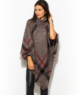 Gray Plaid Boho Poncho