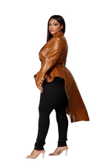 Curvy7 Camel High Low Blazer Top