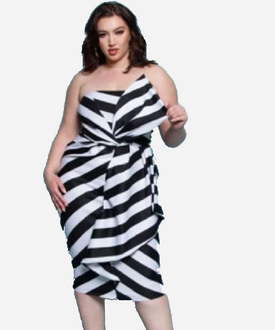 Curvy7 Black and White Stripe Dress