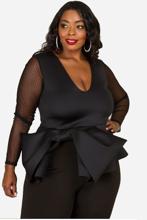 Curvy7 Black Bow Excellence Top
